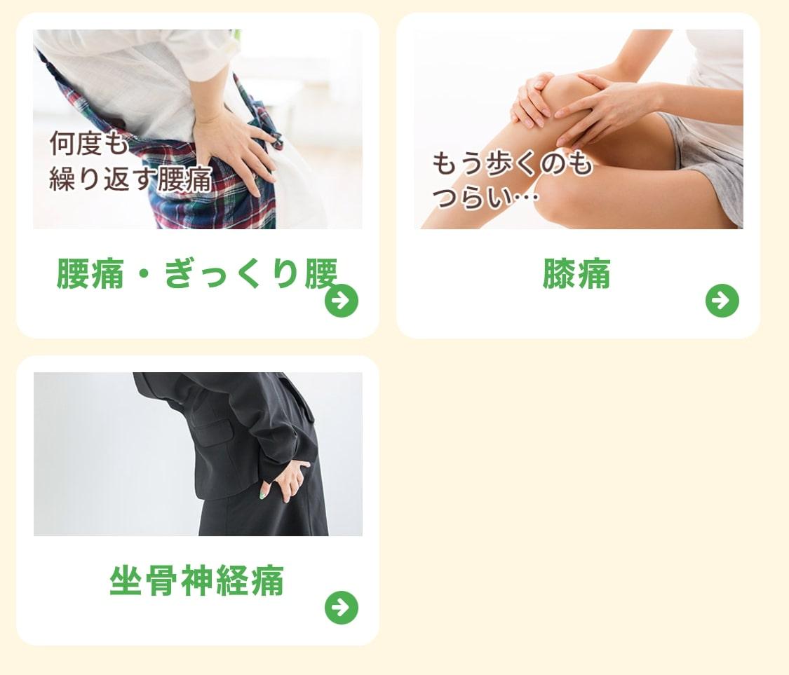 腰痛/ぎっくり腰/膝痛/坐骨神経痛