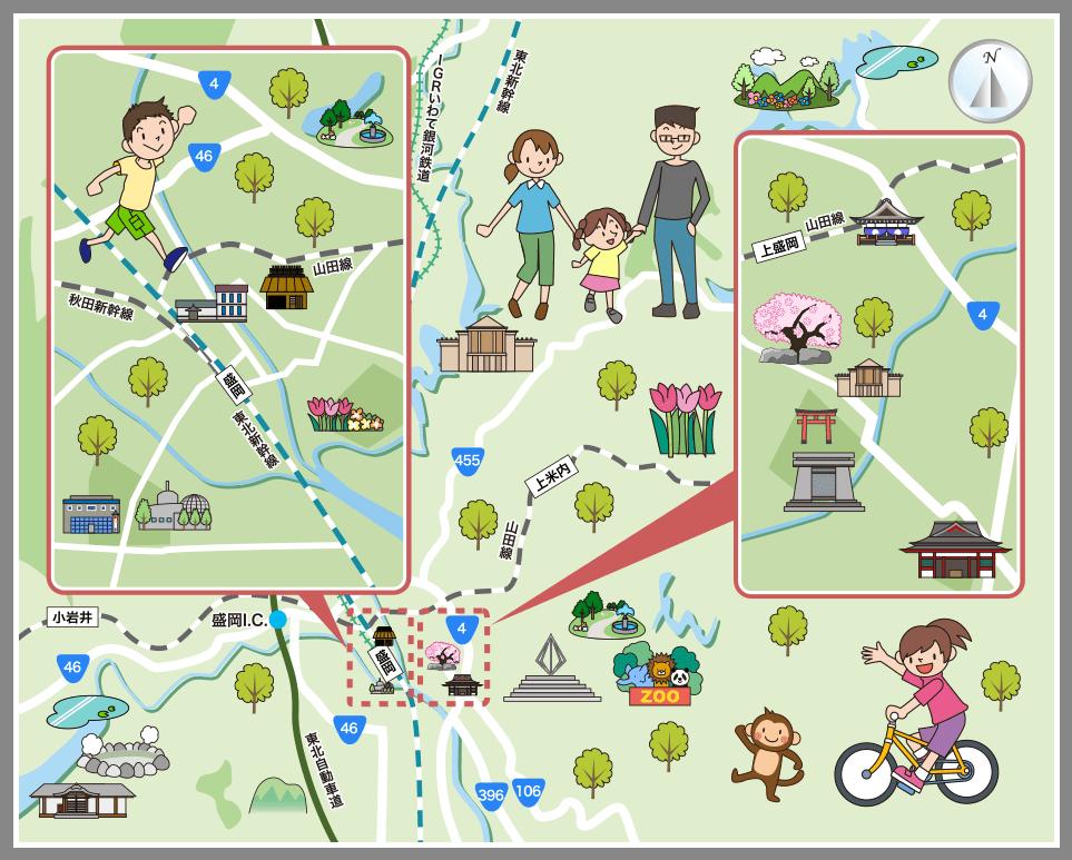 盛岡市の観光マップ・レジャーマップ【ホームメイト・リサーチ】