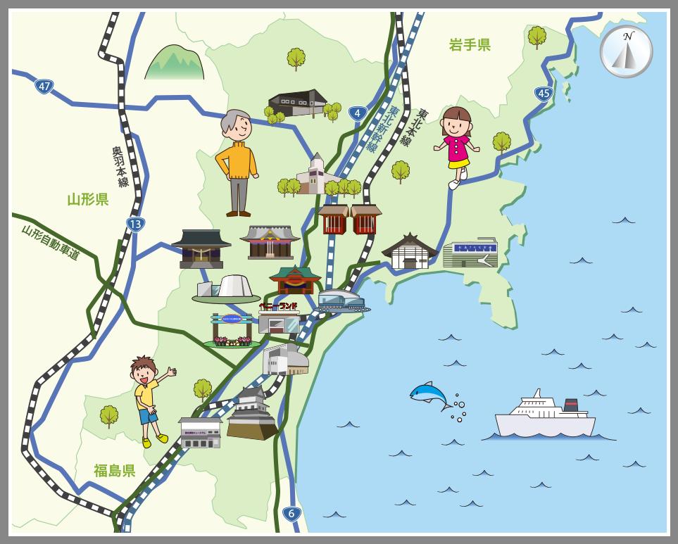 宮城県の観光マップ・レジャーマ...
