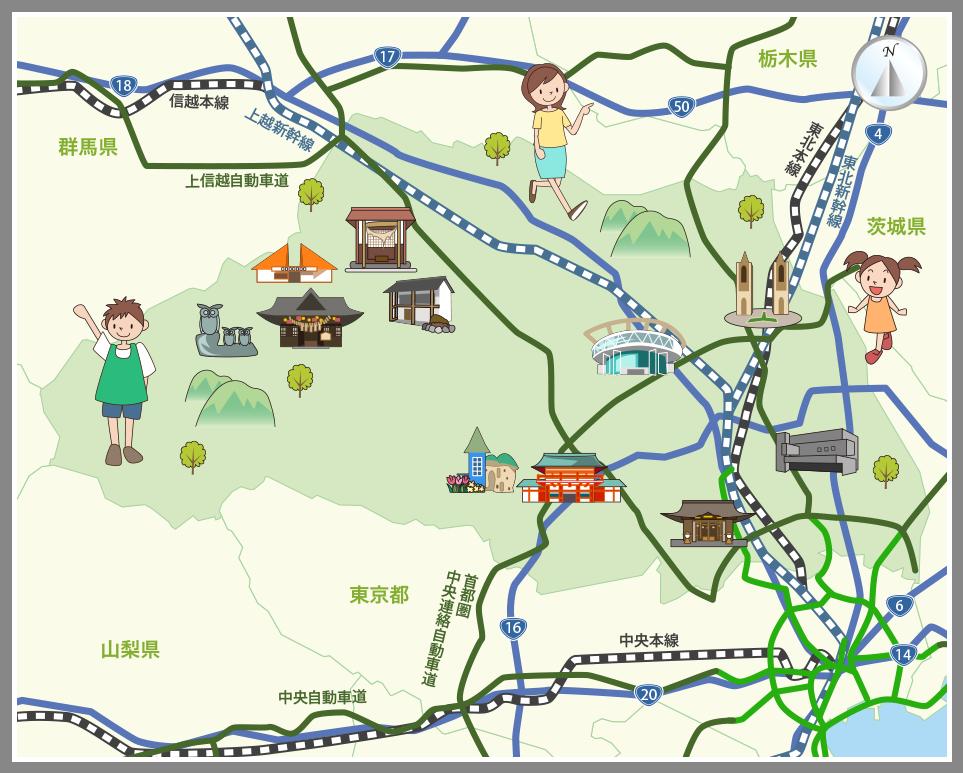 埼玉県の観光マップ・レジャーマップ【ホームメイト・リサーチ】
