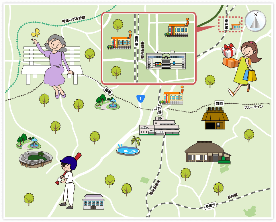 横浜市戸塚区の観光マップ・レジ...