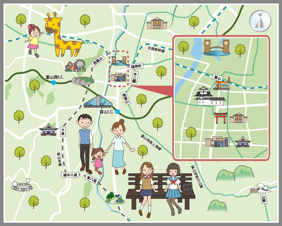 富山県富山市の観光マップ・レジャーマップ【ホームメイト ...