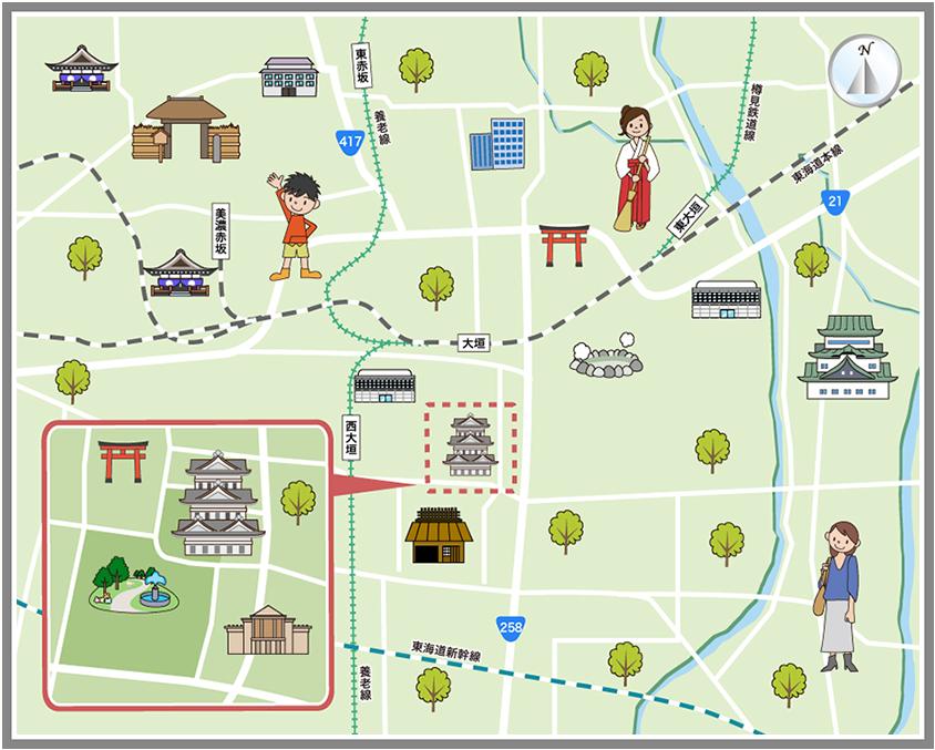 大垣市の観光マップ・レジャーマップ【ホームメイト・リサーチ】