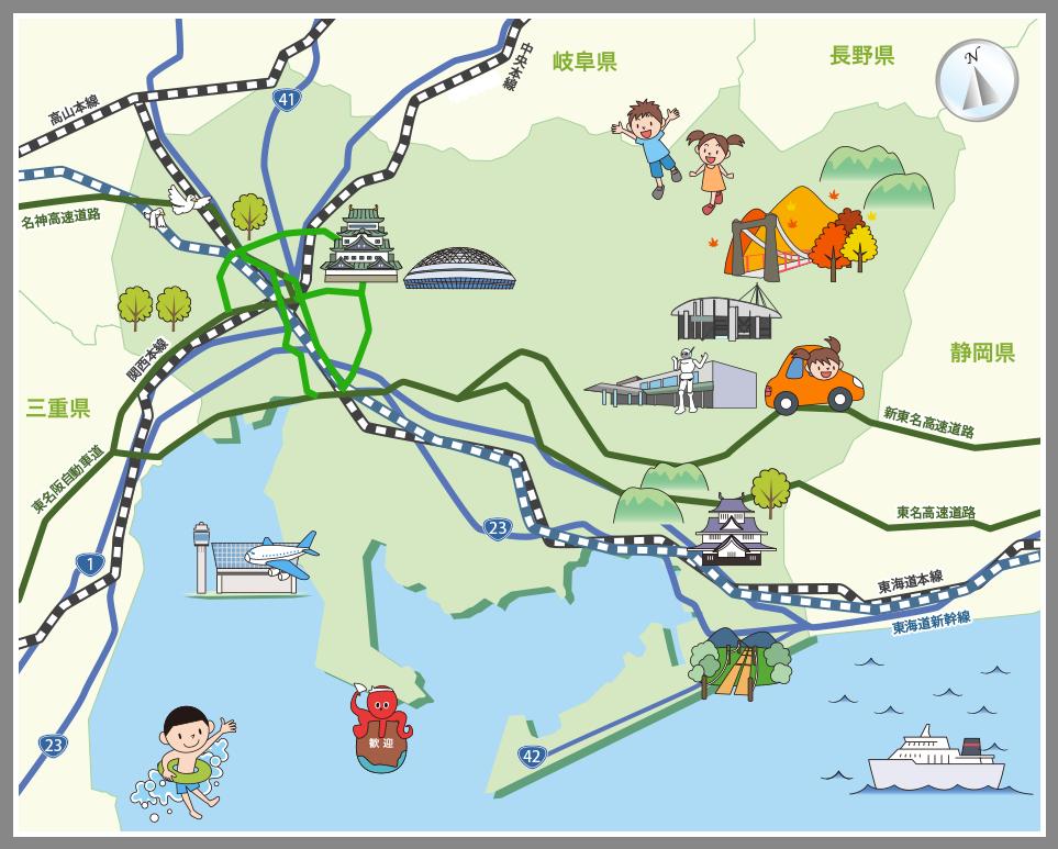 愛知県の観光マップ・レジャーマ...