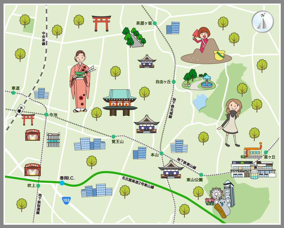 名古屋市千種区の観光マップ・レ...