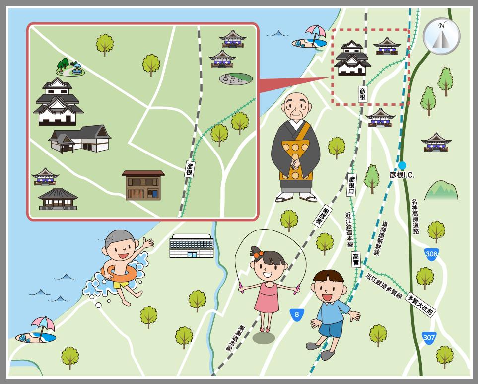 彦根市の観光マップ・レジャーマップ【ホームメイト・リサーチ】