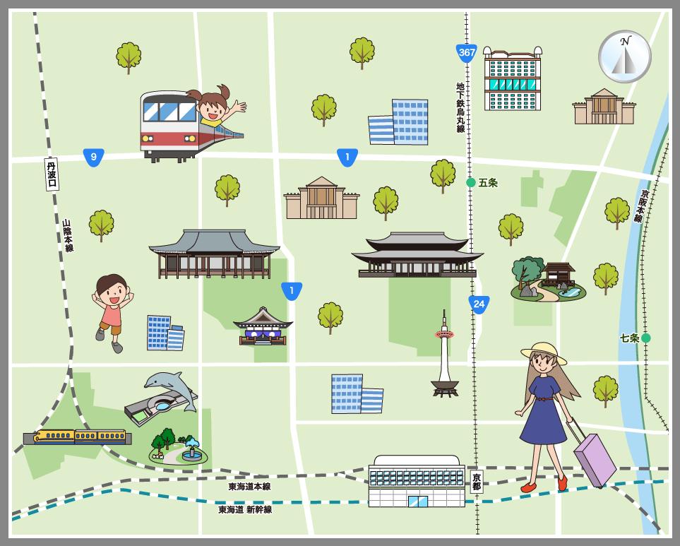 京都市下京区の観光マップ・レジ...