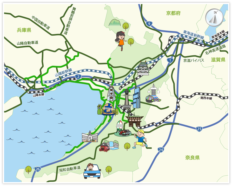 大阪府の観光マップ・レジャーマップ【ホームメイト・リサーチ】