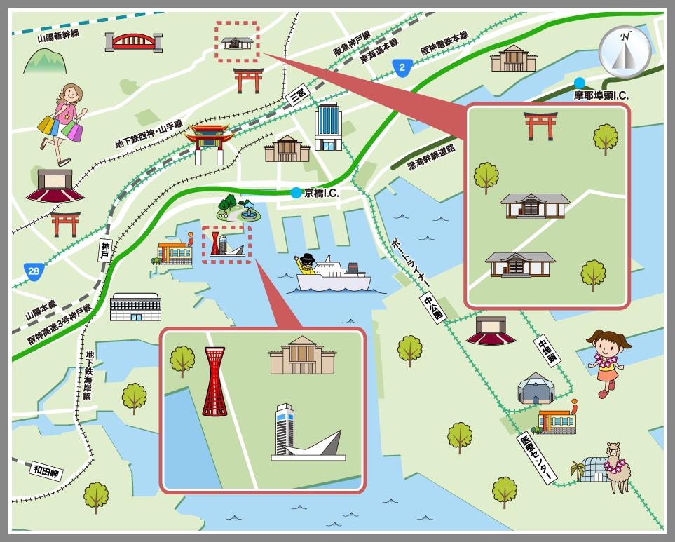 神戸市中央区の観光マップ・レジャーマップ【ホームメイト ...