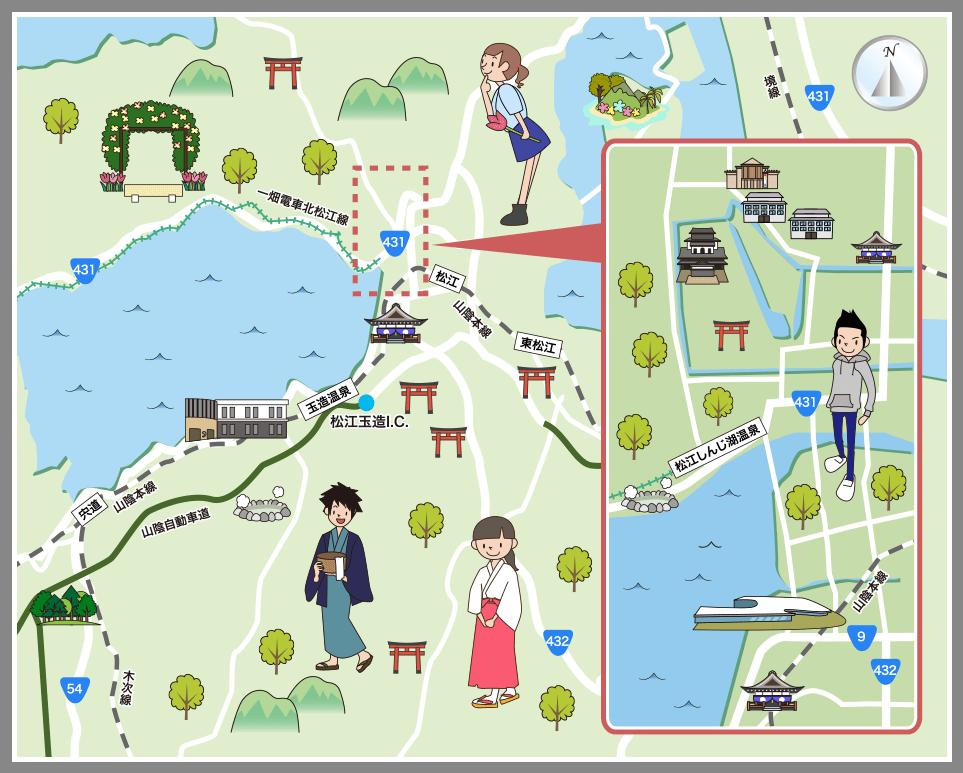 松江市の観光マップ・レジャーマップ【ホームメイト・リサーチ】