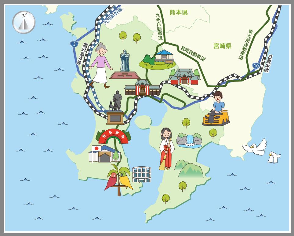 鹿児島県の観光マップ・レジャー...